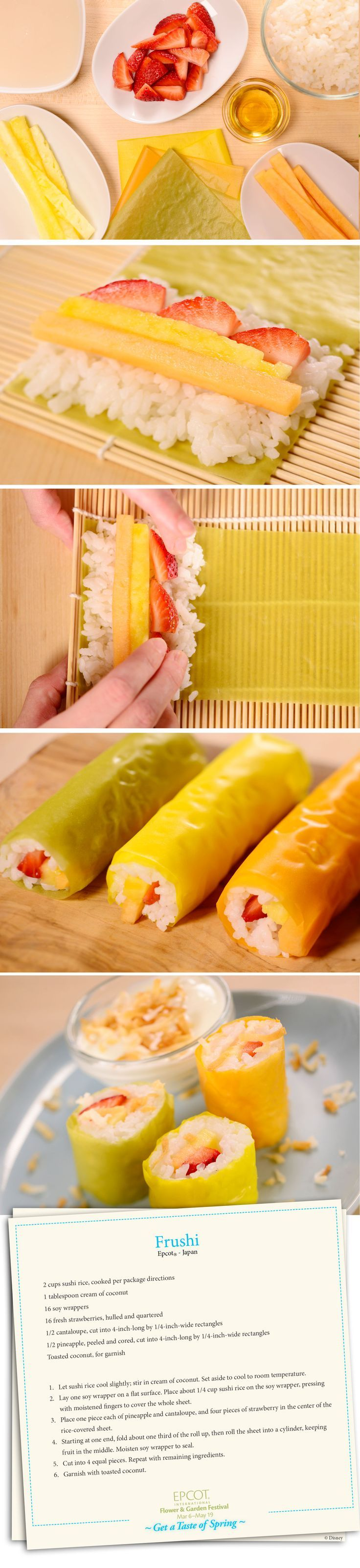 Frushi: Prepare 2c sushi rice. While warm, add 1 tbs coconut cream. Take a soy wrapper (or colored pancake) and fill it with rice, pineapple, cantaloupe & strawberry. Fold, roll & cut into pieces. X