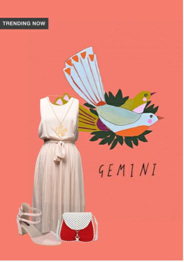 'Gemini' by me on Limeroad featuring Solids Beige Dresses, Pink Pumps with Gold Necklaces