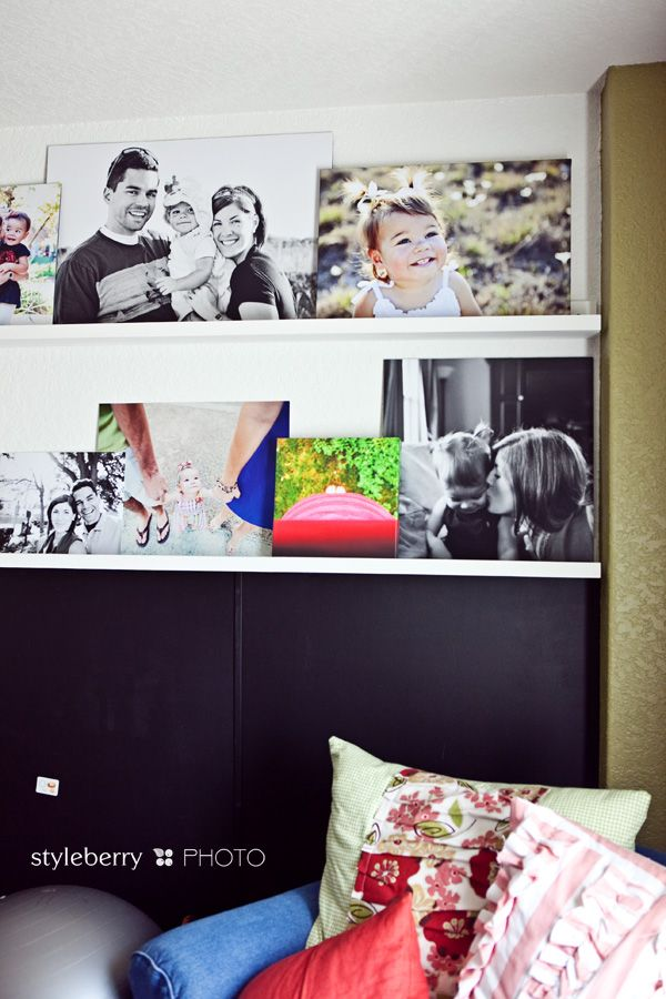 playrooms: Photo Display, Photo Ideas, Plays Rooms, Family Photos, Photo Wall, Families Photo, Photo Shelves, Photo On Canvas, Ledge For Canvas Photo