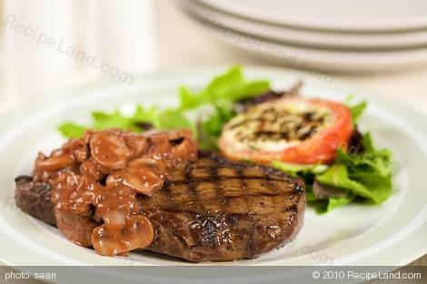 Grilled Steak With Tomato Mushroom Sauce Recipe — Dishmaps