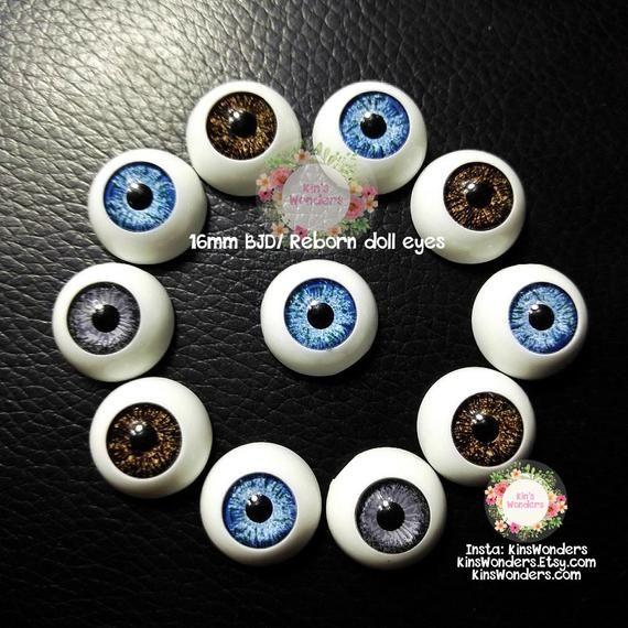 16mm BJD/Reborn doll eyes – 1 pair gray, blue, brown polymer clay model, BJD, plushie toy Acrylic Eyes Bears Soft Doll Making Accessories