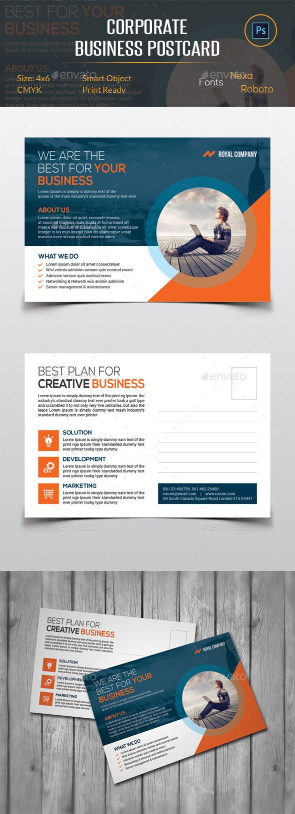 Corporate Business Postcard Template #design #print Download: http://graphicriver.net/item/corporate-business-postcard/11943934?ref=ksioks