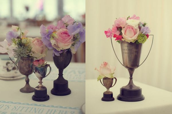 vintage trophy vases -derby party