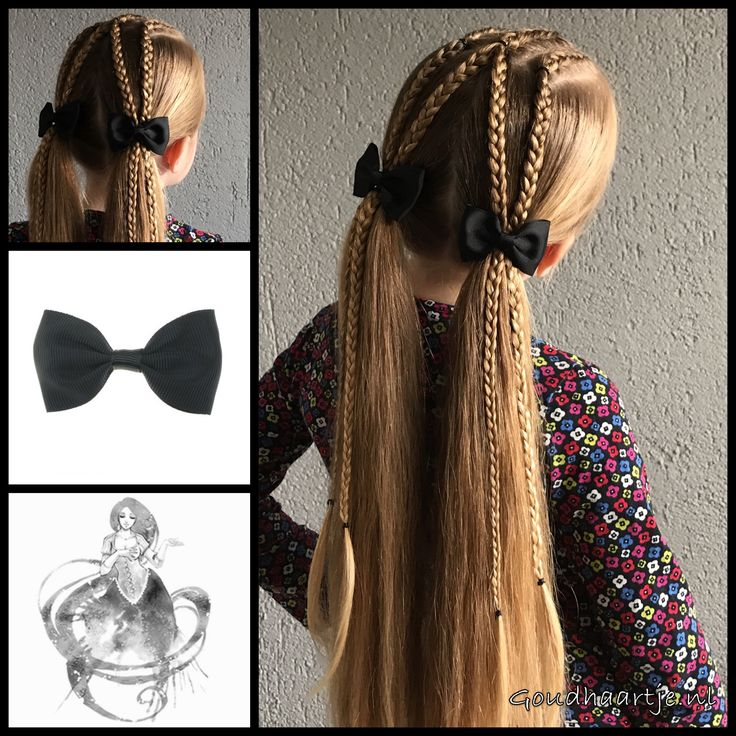 Dutch braids into pigtails with cute bows from the webshop www.goudhaartje.nl (worldwide shipping). Hairstyle inspired by: @studiobraids (instagram) #hair #hairstyle #braid #braids #plait #trenza #peinando #hairaccessories #hairinspo #braidideas #hairstylesforgirls #pigtails #bow #goudhaartje