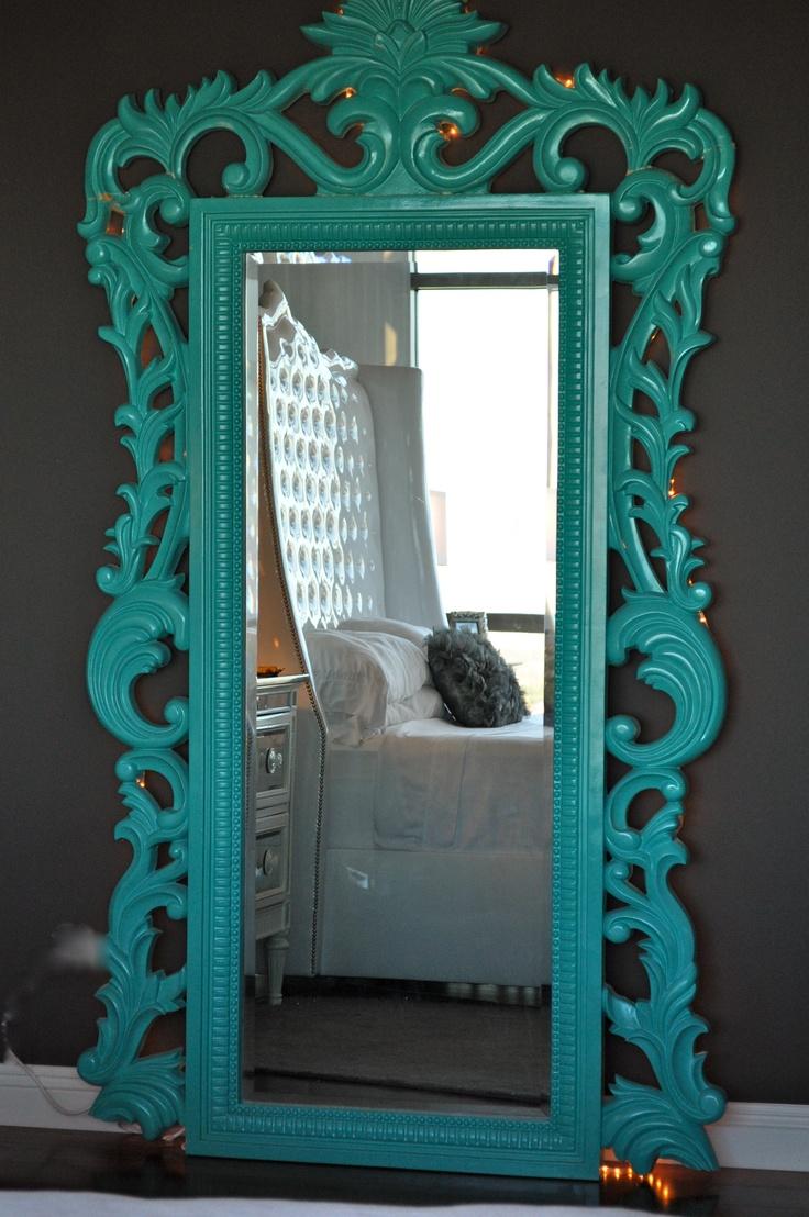 High gloss teal mirror frame teal for Teal framed mirror