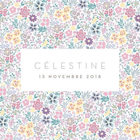 De jolis bouquets de fleurs des champs sur le faire-part de naissance Petit mille fleurs (triptyque) by Tomoë pour www.fairepartnaissance.fr #birth #announcement #rosemood