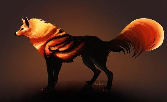 Fantasy fire wolf