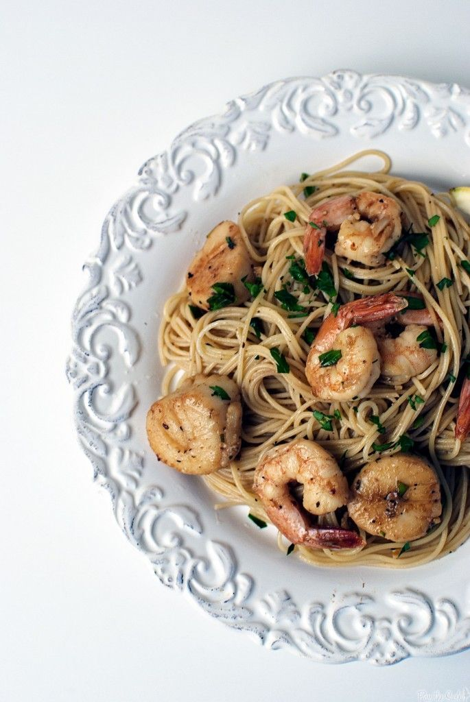 This is one of my favorite quick seafood dinners - Shrimp and Scallop Scampi with Angel Hair Pasta