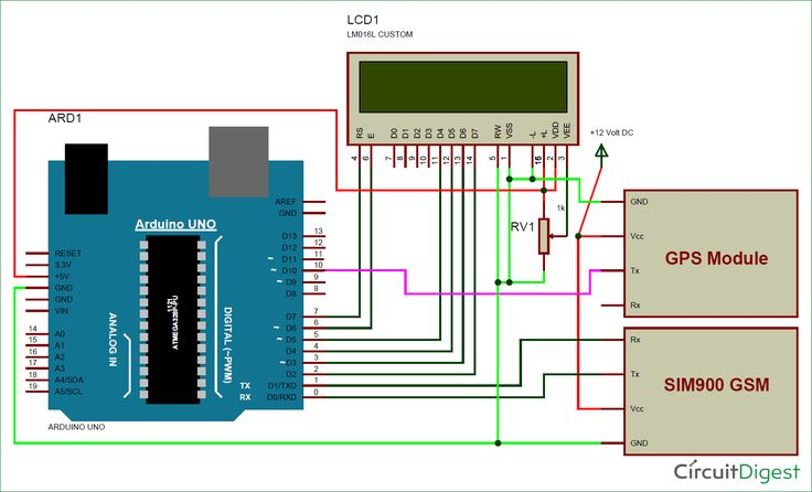 Arduino Based Vehicle Tracker Using Gps And Gsm Circuit Diagram