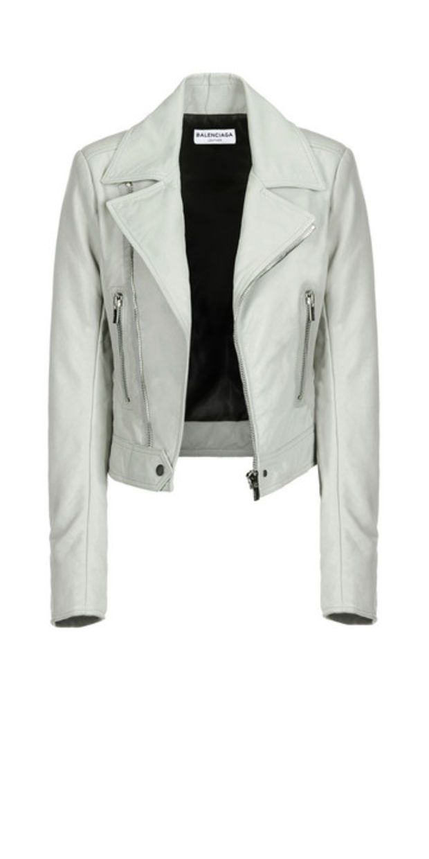 Balenciaga New Classic Biker Jacket Gris Ciment - Women's Jacket