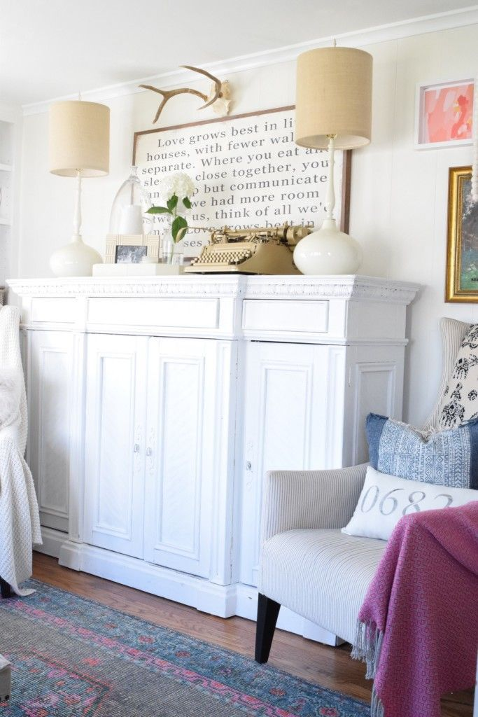 How I used Mud Paint and Chalk Paint - Painted white sideboard Nesting With Grace