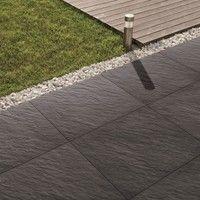 Bradstone Mode porcelain floor tiles Graphite Profiled 600 x 600 paving slabs x 20 60 Per Pack