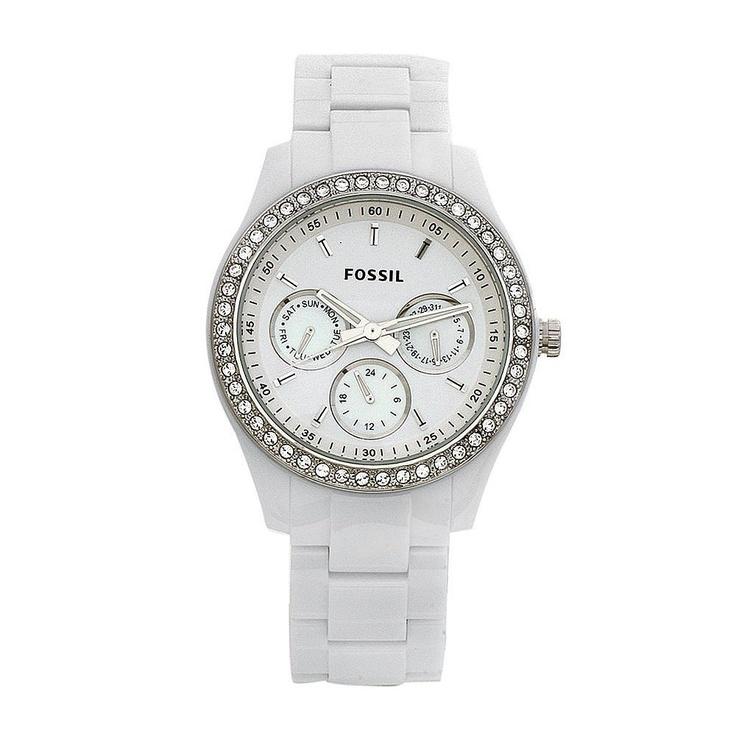Fossil Women's ES1967 Stella Day/Date Display Quartz White Dial Watch $145