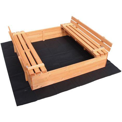 Bac à sable Couvercle Repliable 2 bancs intégrés 980x980x200 mm Bois d'épicéa