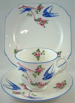 One of my faves - Shelley China Art Deco Trio Bluebird Empire (Late) S11888 c. 1931 - rare!