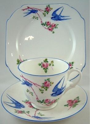 SHELLEY CHINA ART DECO TRIO BLUEBIRD EMPIRE (LATE) S11888 C.1931 - RARE!: