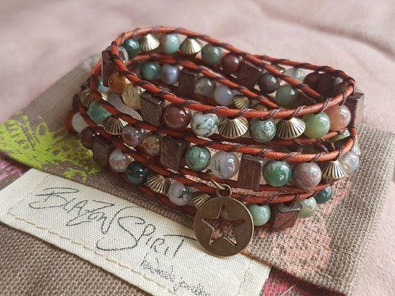 Leather Wrap Bracelet Fancy Jasper Stones 6 Inch by BlazonSpirit