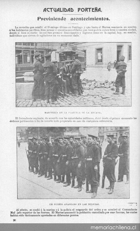 Sucesos: Previniendo acontecimientos en Valparaíso, Octubre de 1905 Fuente: Memoria Chilena