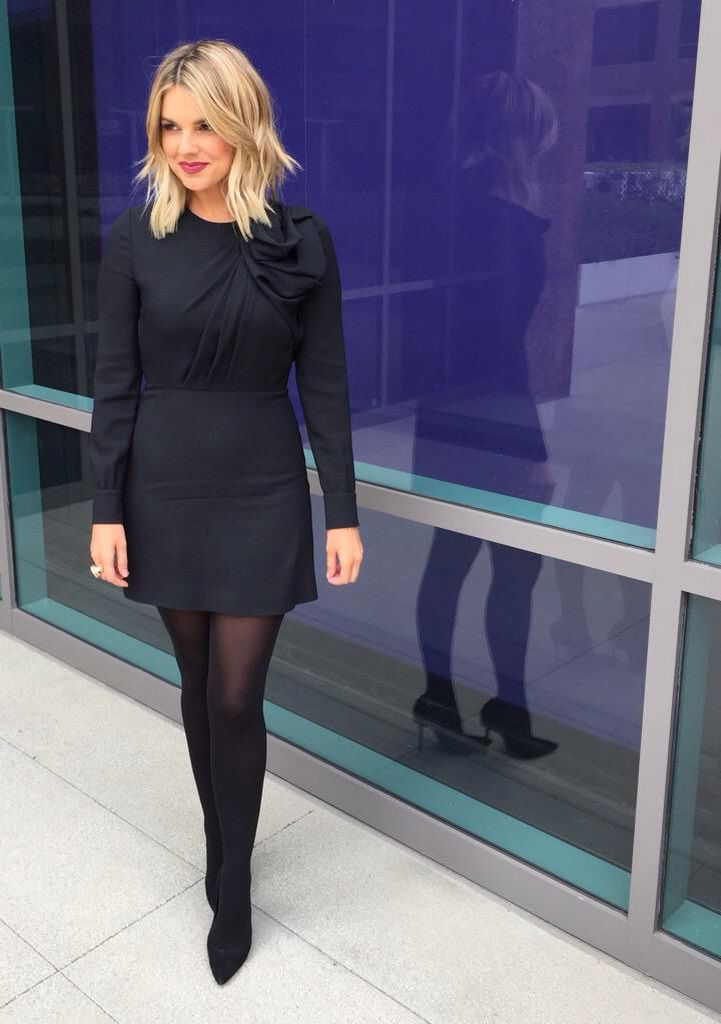 Ali Fedotowsky looking fantastic in a great dress, black tights and heels