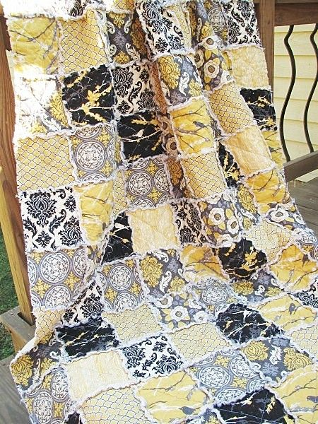 LOVE THIS QUILT!     Twin Size Quilt, Rag, Aviary 2 in granite, black yellow grey, ALL NATURAL, fresh modern handmade bedding-Quilts Bed Twin patchwork bedding home decor country home southern charm quilts twin size rag quilts twin quilt eco friendly aviary 2 black yellow handmade