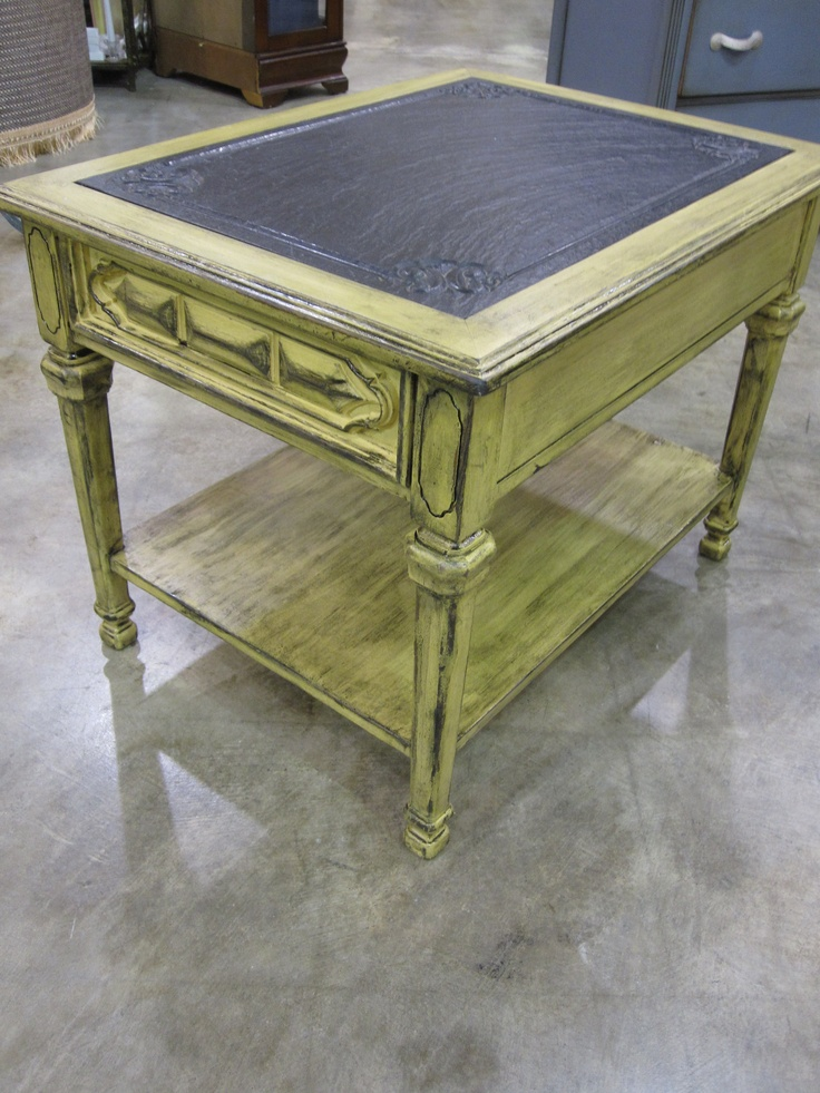 Best Vintage Side Table With Marble Black Top Redone In Yellow 400 x 300