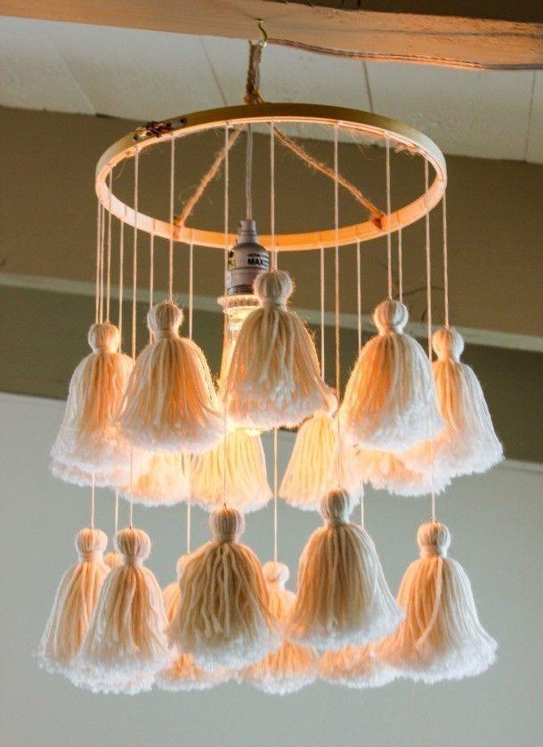 borlas de lana para decorar- lámpara