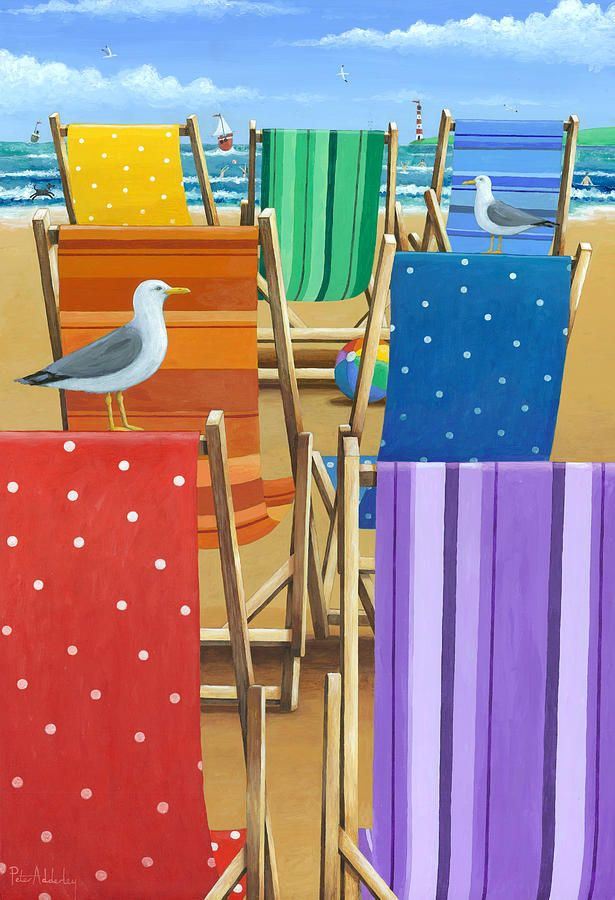 Rainbow Deckchairs by Peter Adderley - Rainbow Deckchairs Fine Art Prints and Posters for Sale