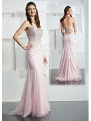 Chiffon V-neck Intricately Hand-Beaded Bodice Long Prom Dress