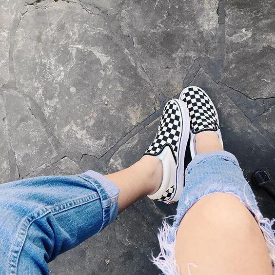 checkerboard vans tumblr