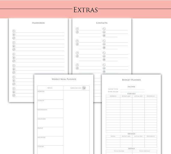 Páginas adicionales para la página A5 Planner - planificador de presupuesto - planificador de comidas - contactos - contraseña - planificador de meta - ahorro - Ideas para regalos
