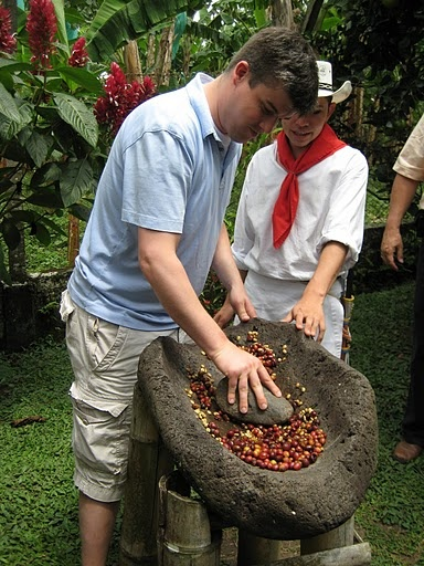 making coffee in Colombia