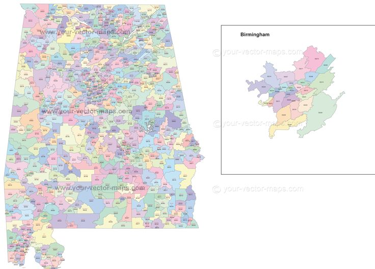 Alabama state zip code map with location name. Original postal code map of Alabama made in Adobe Illustrator format.