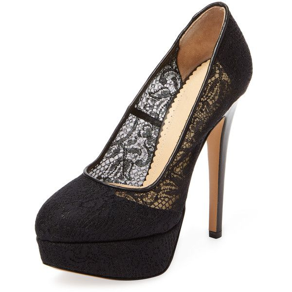 Charlotte Olympia Women's Gothic Immodesty Platform Pump - Black ($358) ❤ liked on Polyvore featuring shoes, pumps, black, black shoes, high heel pumps, black high heel pumps, leather shoes and goth platform shoes