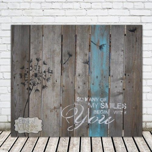"""""""So Many Of My Smiles Begin With You"""", this stunning pallet art is hand-made on real wood and would look perfect above my bed! Made by Ethical Village"""