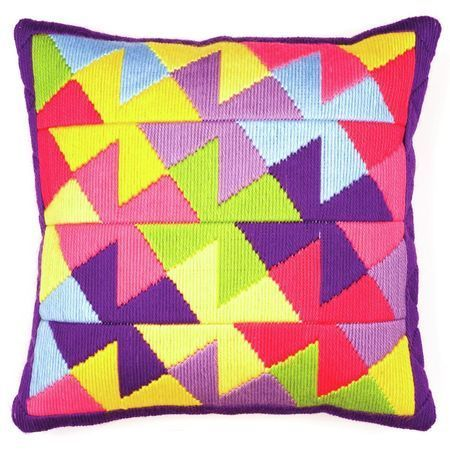 A retro themed cushion design with a bright, timeless appeal! Perfect for any living room or bedroom, this easy to stitch long stitch cushion panel kit is great for injecting some colour into the corners of your home.