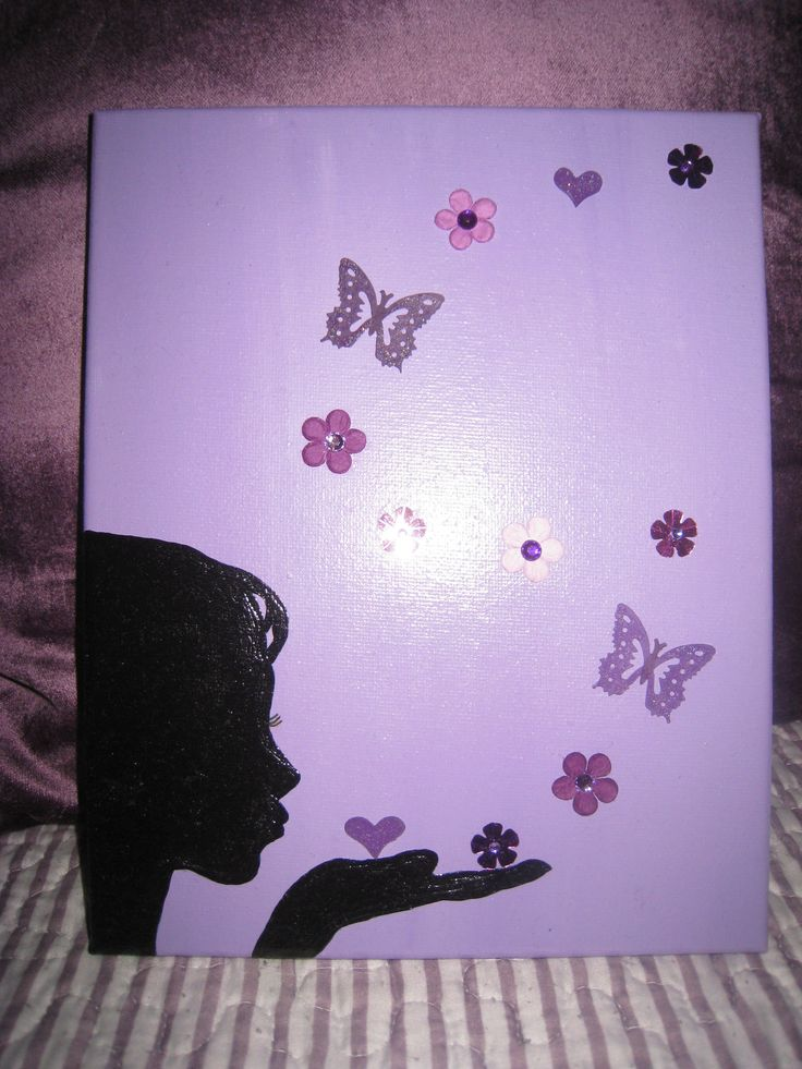 Handmade Acrylic Painting On Canvas Blowing Butterfly