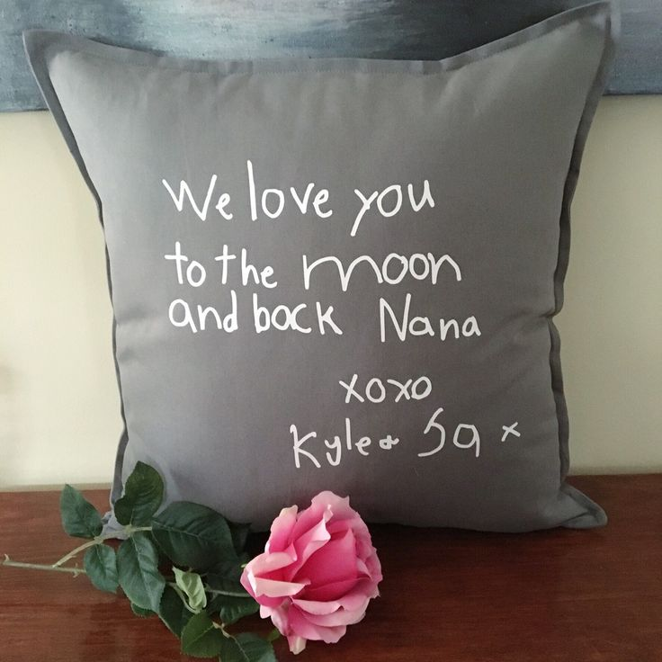 Oh how sweet is this?  A hand-lettered pillow with your child's writing on it!  I think this will melt the heart of anyone receiving it