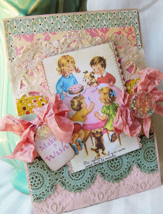 Make a Wish lovely shabby card