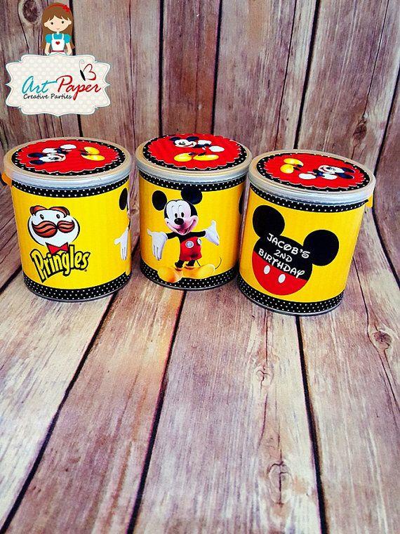 Classroom Birthday Party Treat Ideas ~ Mickey or minnie mini pringles cans