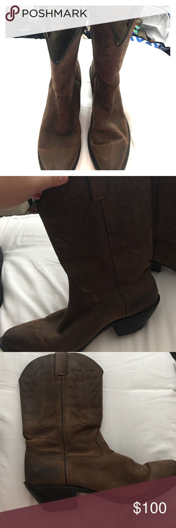 Durango Cowboy Boots Worn, very nice cowboy boots!! These have been loved, have a couple of scuffs but are still in great shape and are the perfect cowboy boot! I just got another pair for Christmas so find myself not needing two! Durango Shoes Heeled Boots