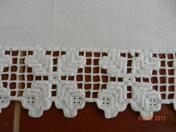 Linen Table Runner with Hardanger Edging by ClarabelleCraftroom