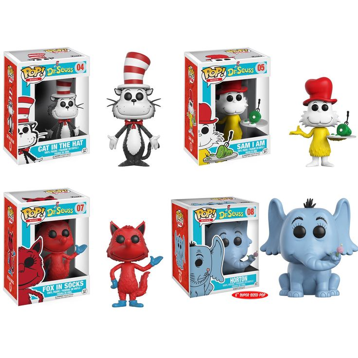 "Funko POP! Books Dr. Seuss Collectors Set; Cat in the Hat, Horton 6"", Sam I Am, Fox in Socks"