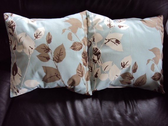 Throw pillow covers blue brown leaf and bracken design cushion shams UK designer fabric covers two 18 x 18  inch handmade autumn