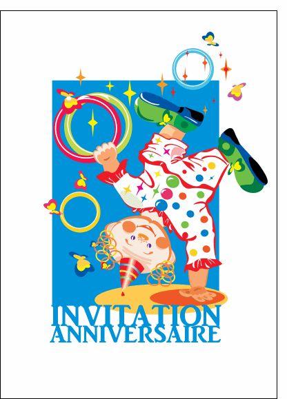 Carte Invitation anniversaire avec un clown pour envoyer par La Poste, sur Merci-Facteur !