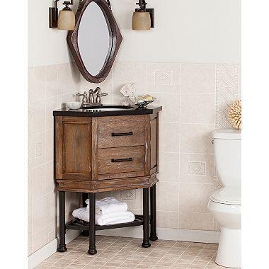 Web Image Gallery Southern Enterprises Cooper Corner Vanity Sink w Granite Top