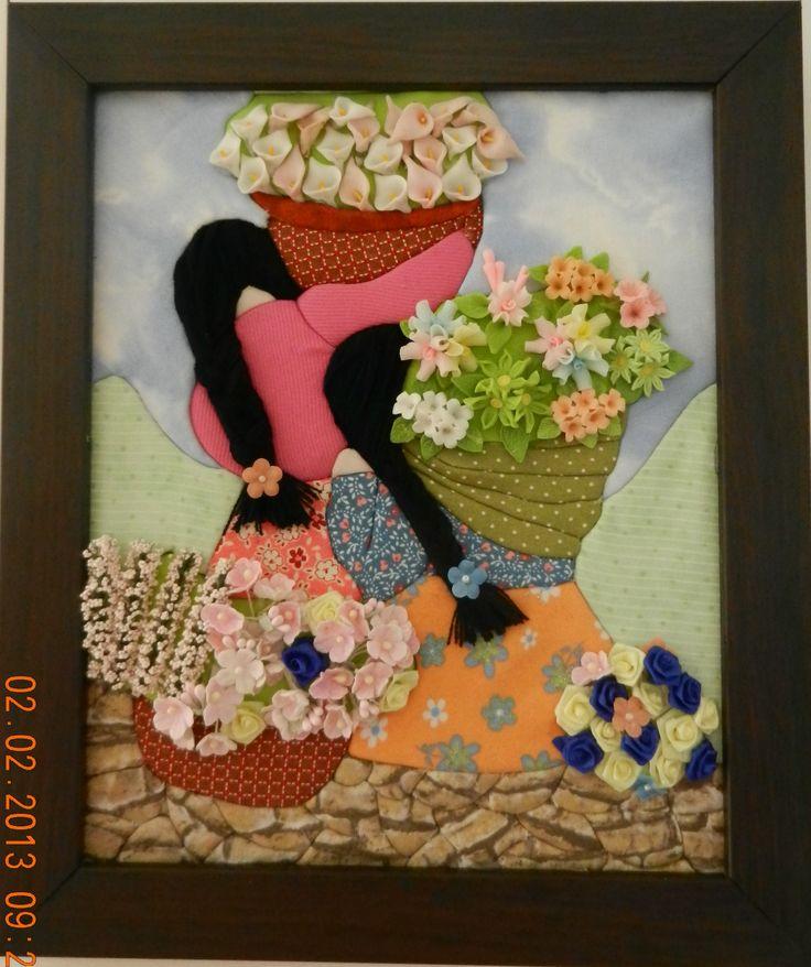 Patchwork sin agujas.....campesinas con flores