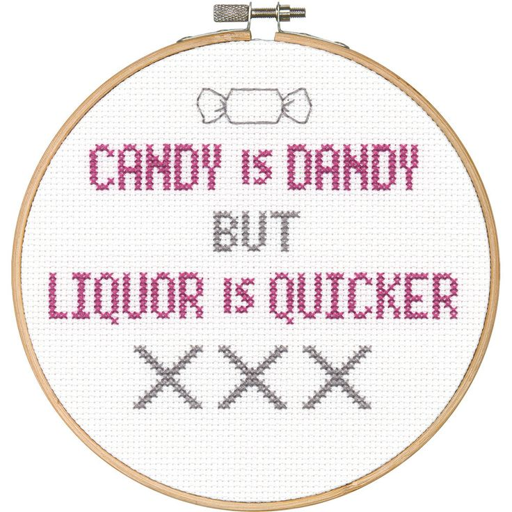 You'll never be at a loss for words with this cute quip hanging around. Candy by Dimensions in counted cross stitch is quick and easy to stitch, even for a beginner.