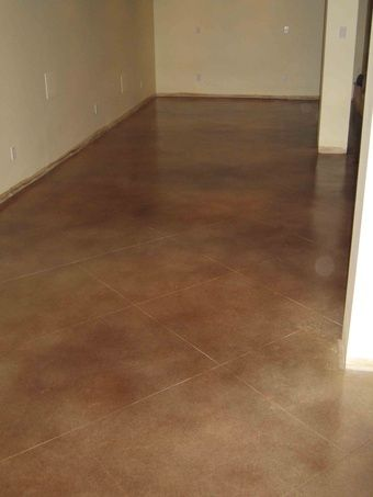 Water based concrete stain enhances the look of the basement floors
