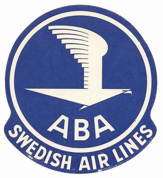 1947 Sweden ABA Swedish Airlines Original Label / Sticker in Objetos de colección, Transporte, Aviación | eBay