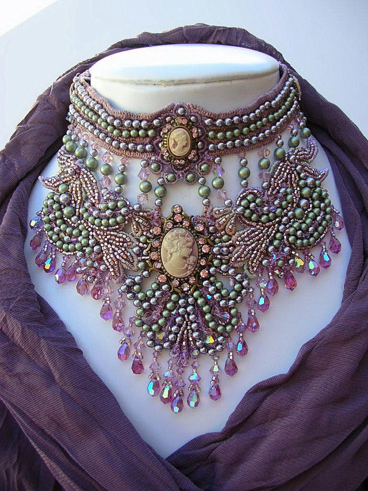 Necklace   Crystal Gaye. 'Goddess Abundanita'. Swarovski Crystals & Pearls in Light Amethyst & antique green, surround five elegant cameos. Heavily beaded on a foundation of hand dyed lace